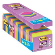 Foglietti Post-it® Super Sticky Notes assortiti neon conf. 21 blocchetti + 3 gratis da 90 ff - 654- P24SSCOL-EU