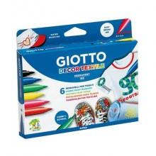 Pennarelli per tessuti GIOTTO Decor Textile tratto fine 1-3 mm assortiti astuccio da 6 + t-shirt bianca - 494800