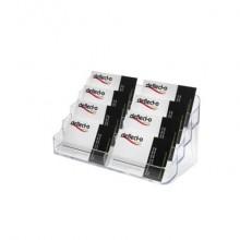 Portabiglietti deflecto® in polistirene con 8 scomparti trasparente 70801