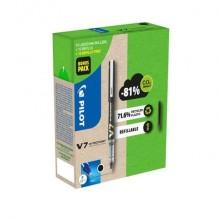 Roller Pilot Hi-Techpoint V7 Begreen 0,7 mm nero Green Pack 10 penne + 30 refill (15 omaggio) - 000027