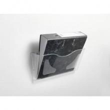 Vaschetta portadocumenti deflecto® A4 in polistirolo con kit di fissaggio a muro trasparente - CP074YTCRY