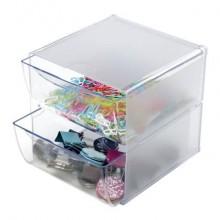 Cubo organizer deflecto® in polistirene con 2 cassetti trasparente 350101