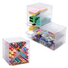 Cubo organizer deflecto® in polistirolo con divisorio a X trasparente 350201