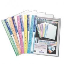 Portalistini Viva Rainbow Tecnostyl A4 in PPL 10 buste colori assor. 31x24,5 cm assortiti conf. da 5 pezzi - AR10/R