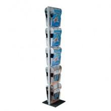 Espositore da terra porta depliant Menhir Tecnostyl A4 in alluminio con 10 vaschette Ice 33x33x173 cm silver MIC103
