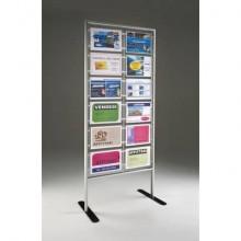 Porta-avvisi autoportante Menpa TECNOSTYL in alluminio con 12 scomparti 75x46x180 cm silver - MPA-126H