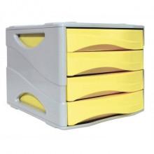 Cassettiera 4 cassetti ARDA Keep Colour Pastel polistirolo antiurto grigio/giallo - 15P4PPASG