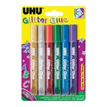 Colla Glitter Uhu Original colori assortiti 6x10 ml - D1640