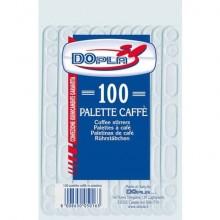 Stoviglie monouso Dopla palette caffè manuali polistirolo trasparente conf.100 - 05016