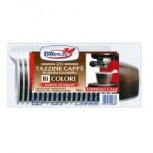 Stoviglie monouso Dopla tazzine da caffè polistirolo bianco/marrone conf.20 - 4036