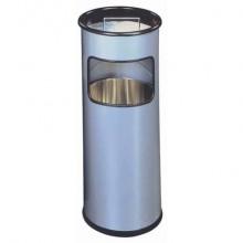 Posacenere Durable a colonna acciaio con sabbia e cestino base tonda argento metallizzato - 333023