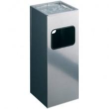 Posacenere Durable a colonna acciaio con sabbia e cestino base quadrata argento metallizzato - 333123