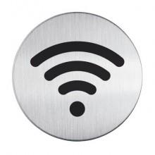 """Pittogramma adesivo """"Wifi"""" DURABLE argento metallizzato Ø 83 mm 478523"""