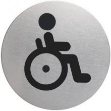 """Pittogramma adesivo """"WC diversamente abili"""" DURABLE acciaio inox argento metallizzato Ø 83 mm - 490623"""
