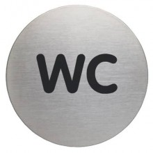 Pittogramma adesivo DURABLE Ø 83 mm acciaio inossidabile spazzolato argento metallizzato WC - 490723