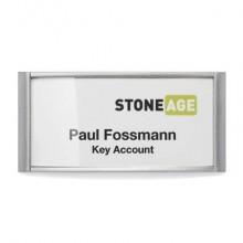 Portanomi DURABLE CLASSIC con magnete argento metallizzato/trasparente inserto 34x74mm  conf. 10 - 854223
