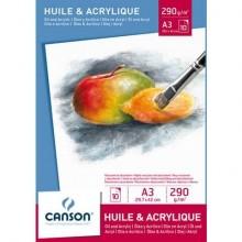 Blocco da disegno CANSON per olio e acrilico 10 fogli bianco 290 g/m² A3 C200005786