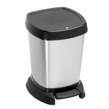 Cestino gettacarte con pedale Rotho PASO Cosmetic 23,4x21,9x29,5 cm grigio argento - F600000