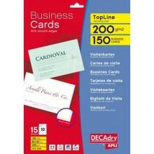 Biglietti da visita Decadry angoli vivi su supporto adesivo 85x54 mm. Fogli A4 bianco  Conf. 150 biglietti - T603342