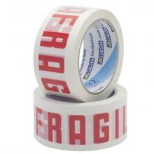 Nastro adesivo da imballo Vinyl SYROM formato 50 mm x 66 m - pvc bianco (stampa rossa) - 7621