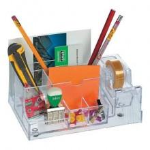 Desk organizer Lebez con dispenser nastri adesivi 33 m - formato 20x8x12 cm trasparente - 1737-T