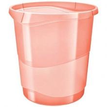 Cestino gettacarte Esselte Colour'Ice polistirene albicocca trasparente 14 litri - 626288