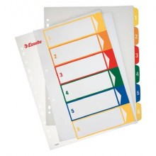 Divisori per rubrica Esselte extra numerica 1-6 con indice stampabile a PC A4 maxi - 100212