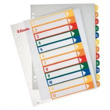 Divisori per rubrica Esselte extra numerica 1-12 con indice stampabile a PC A4 maxi - 100214