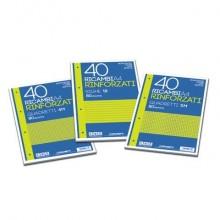 Ricambi rinforzati Blasetti in carta bianca usomano con 4 fori rinforzati in plastica 80 g/m² A4 C  conf.40 - 2332