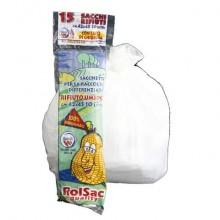 Sacchi immondizia ROLSAC in mater-bi biodegradabile capacità 15 l BIANCO rotolo da 15 pz. - 10130