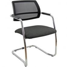 Sedia visitatore con slitta Unisit Lithium LTLTN - schienale in rete nero - rivestimento Eco grigio chiaro- LTLTN/EI
