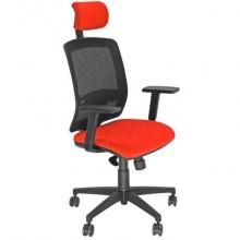 Sedia semidirezionale girevole Unisit Molly MLAPG con poggiatesta - schienale rete nero - riv. ignifugo rosso MLAPG/IR