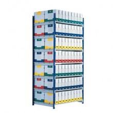 Modulo base scaffalatura Paperflow ad incastro RANG'ECO regolabile - 5 ripiani blu - K605170