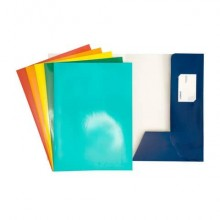Cartelline a 2 lembi 4Mat 32x24 cm in cartoncino plastificato 300 g/m² blu conf. da 10 pezzi - 3760 01