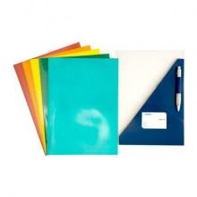 Cartella a 2 lembi a incastro 4Mat 32x24 cm in cartoncino plastificato 300 g/m² blu  conf. da 10 pezzi - 3770 01